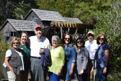 Julie Hettiger, Carolyn Ward, Bill and Cathy Stone, Madeleine Balkonis, Jordan Calaway, Rick Lotz, and Willa Mays at Mabry Mill ribbon cutting event on October 3.