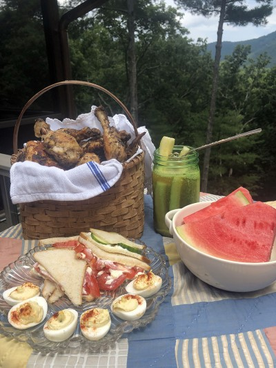 Classic picnic with chicken on the Blue Ridge Parkway