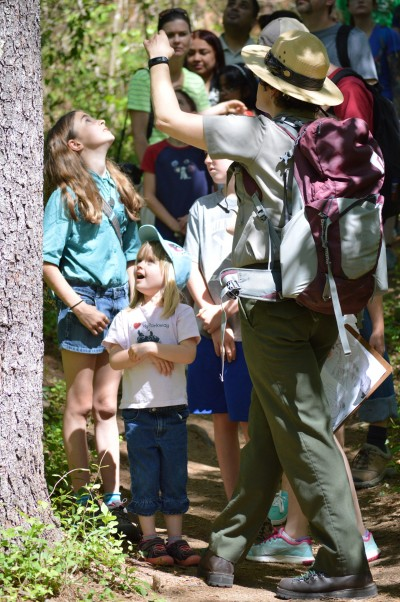 A ranger leads kids on a hike during National Park Rx Day.