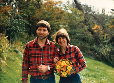 Ray and Laura Pease on their wedding day in 1986 at Craggy Gardens on the Blue Ridge Parkway.