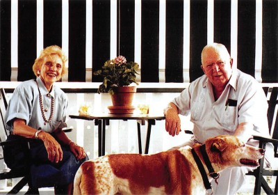 Sue and Bliss Williams with their dog, Huck