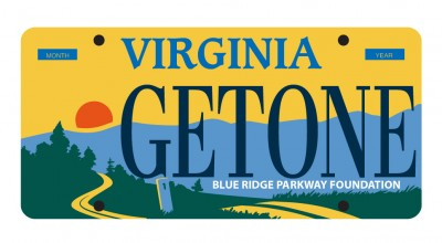Proposed Virginia Blue Ridge Parkway license plate with road winding through natural setting with mountains as a backdrop