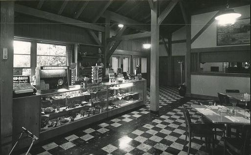 The interior of Bluffs Coffee Shop in 1952