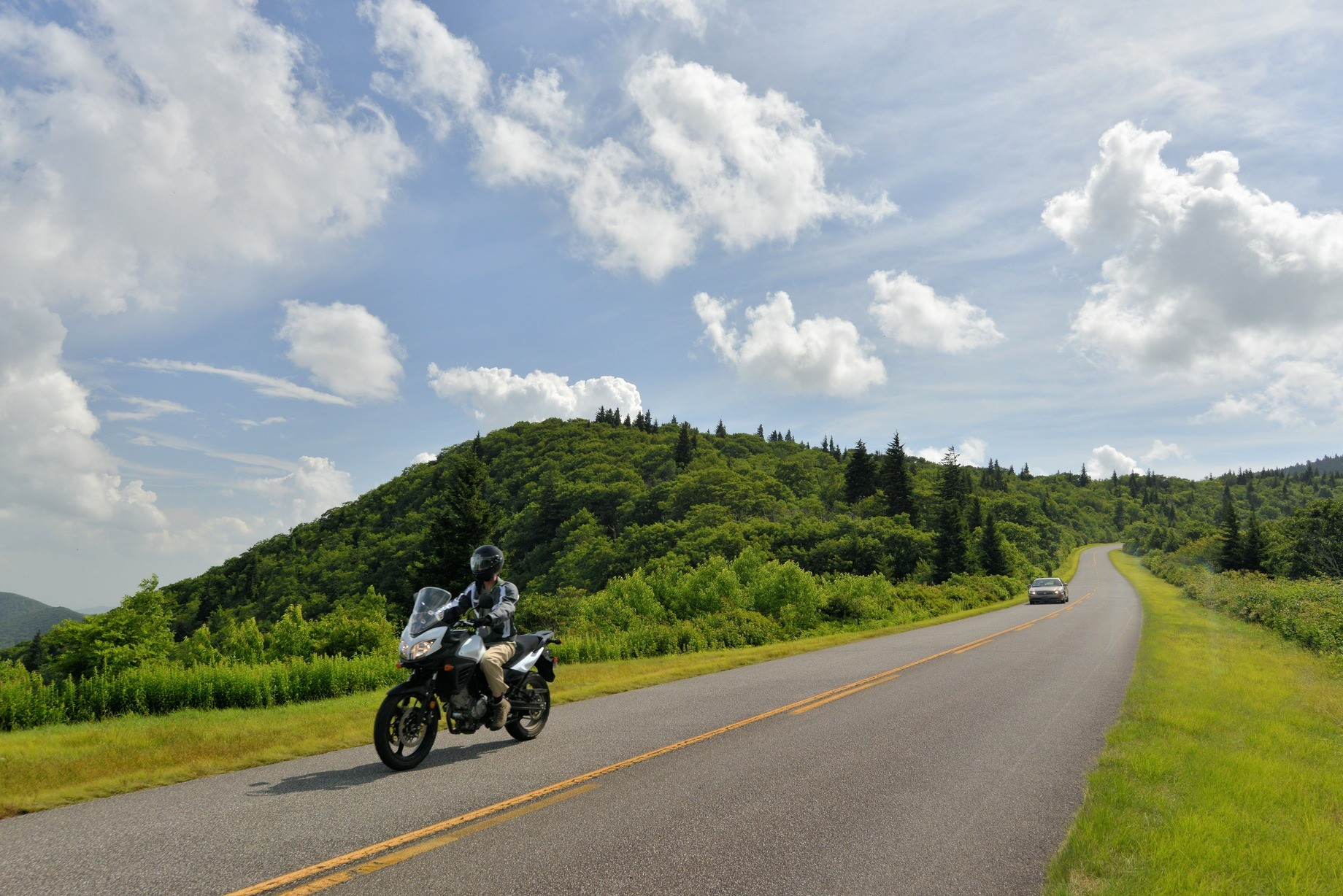 Motorcyclist on the Blue Ridge Parkway